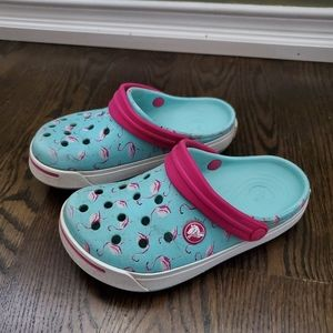 Crocs Blue with Pink Flamingos Size 12 C 13